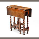 An oak gateleg occasional table Some late 17th century timbers
