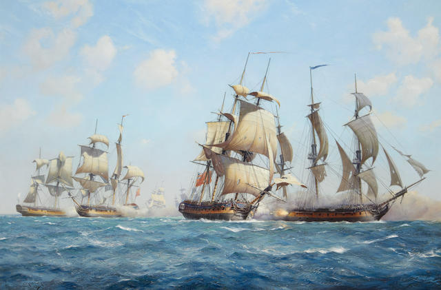 Derek George Montague Gardner (British, 1914-2007) 'Thurot's last fight' off the Belfast Lough, 28th February 1760