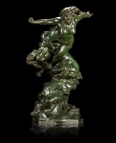 Raoul François Larche 'The Tempest' a Large Patinated Bronze Figural Group