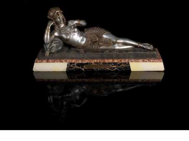 Demetre Chiparus (1886-1947) 'Cleopatra' a Silvered Bronze Sculpture, circa 1925