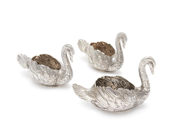 Three German silver  swan table ornaments by B. Neresheimer & Söhne, Hanau