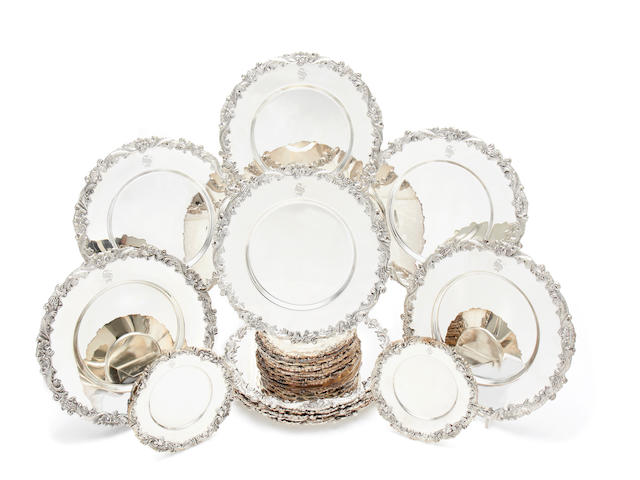 "A set of twelve American silver-plated plates incuse stamped ""Gump's San Francisco""; together with a matching set of twelve side plates  (24)"