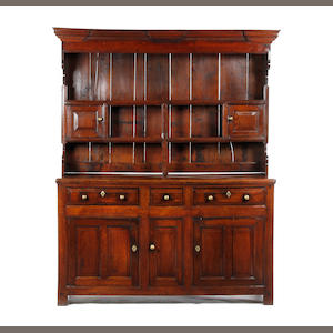 An early 18th century oak high dresser North Wales, possibly Llanrwst