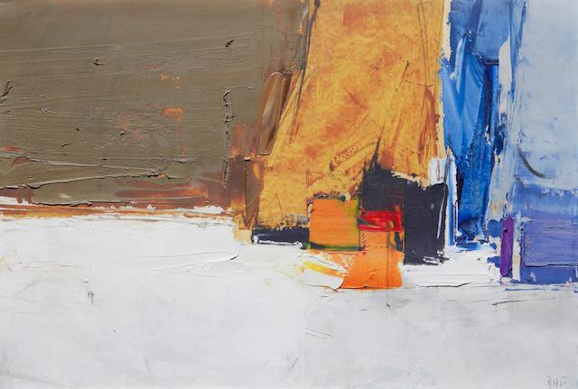 Donald Hamilton Fraser RA (British, 1929-2009) Composition, blue, orange and ochre, 1961