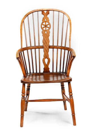 An ash, beech and elm Windsor high chair