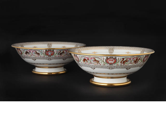 A pair of Sèvres bowls, dated 1846