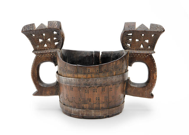 A late 18th century coopered birch 'kasa', Scandinavian, dated 1790
