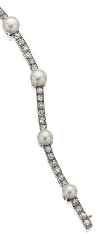 A Belle Époque natural pearl and diamond bracelet, French