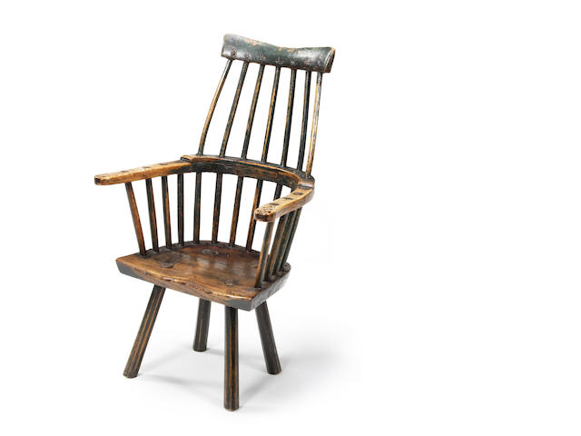 An ash and beech child's primitive Windsor comb-back chair, West country Circa 1800