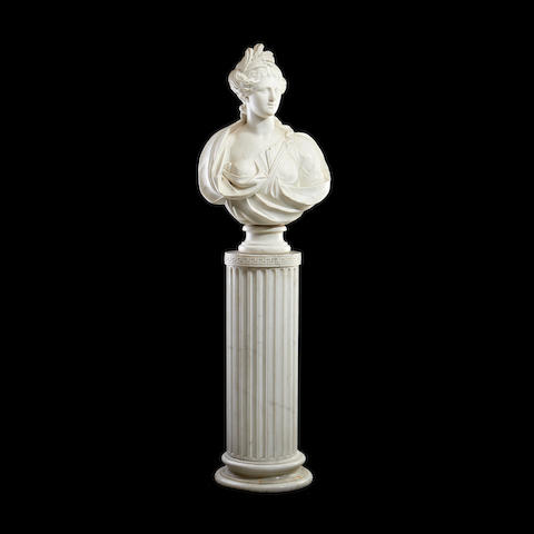 A 19th century marble bust of Ceres on a marble column