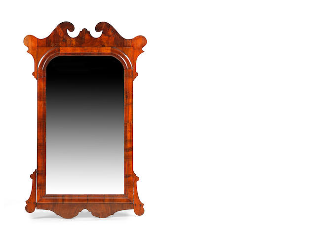 A George II-style walnut fret-frame wall or pier mirror