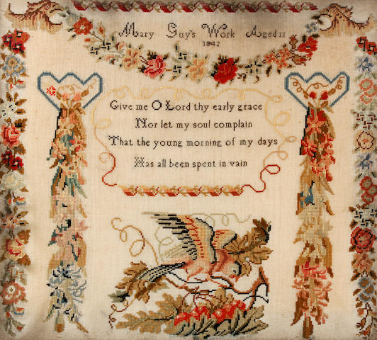 An early Victorian woolwork sampler, by Mary Guy, dated 1842