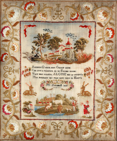 A William IV needlework sampler, by M. Aspinwall, dated 1833