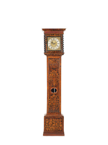 A late 17th century and later walnut marquetry longcase clock, Later signed for Joseph Knibb