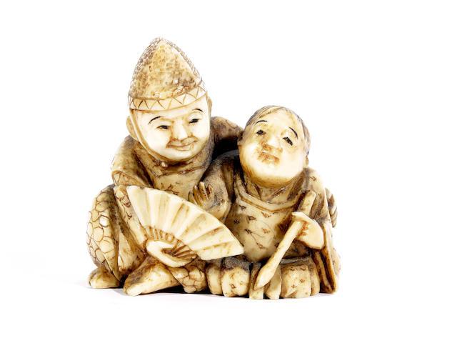 A Japanese carved ivory netsuke, Meiji period