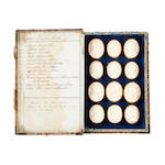 A mid 19th century set of twenty-four Grand Tour plaster intaglios of Domini Illustri