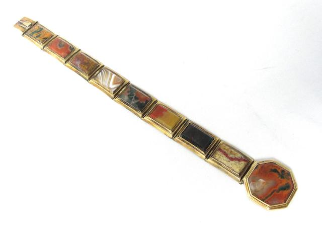 A Victorian Scottish agate bracelet, circa 1840