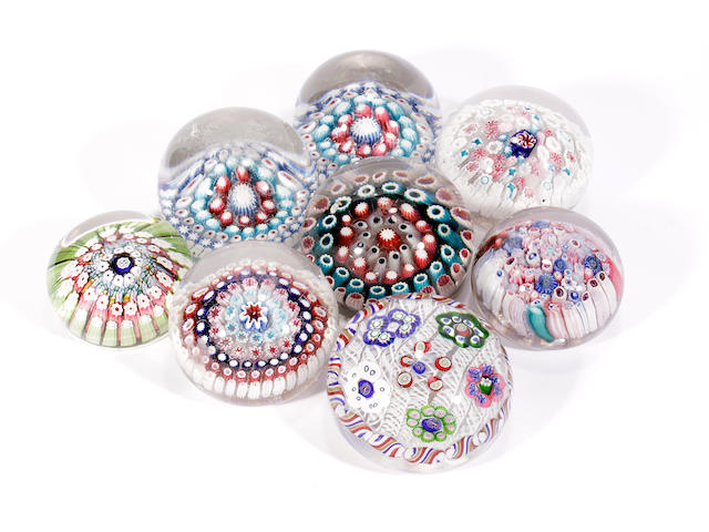 Eight various English paperweights, late 19th century