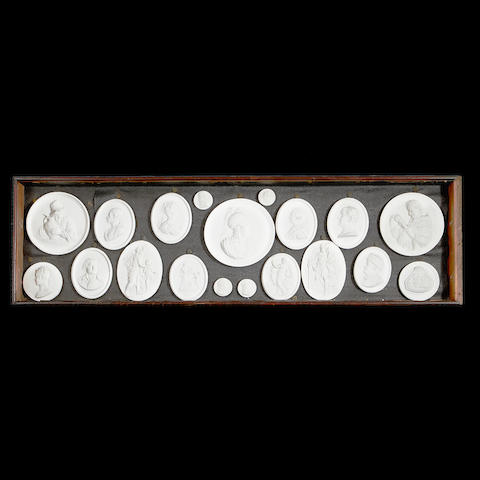 A group of eighteen 19th century plaster intaglios