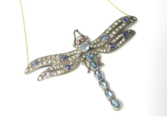 A gem-set dragonfly pendant