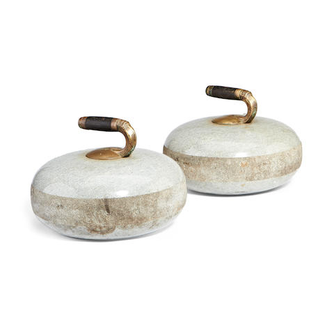 A pair of Blue Hone granite curling stones