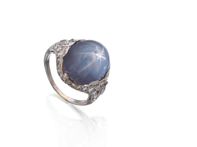 An early 20th century star sapphire and diamond ring, American