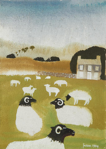 Mary Fedden R.A. (British, 1915-2012) Sheep in a field