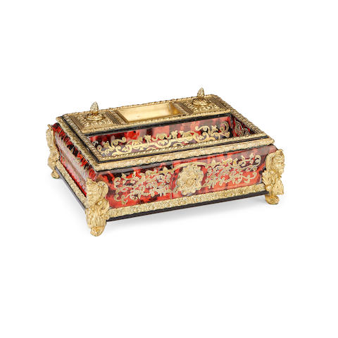 A mid 19th century French ebonised, gilt metal, tortoiseshell and cut brass inlaid 'Boulle' desk set