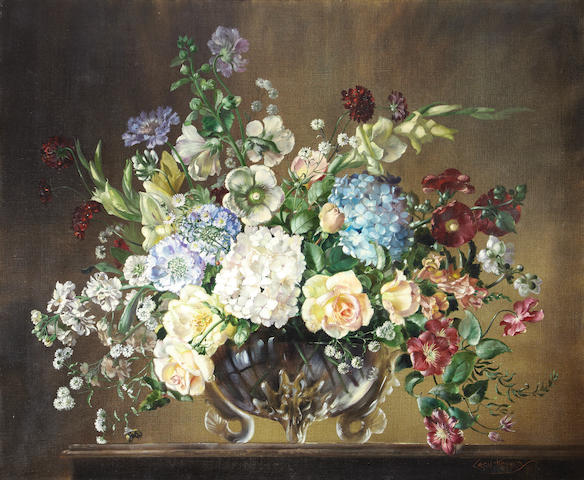 Cecil Kennedy (British, 1905-1997) A still life of mixed flowers in a glass vase