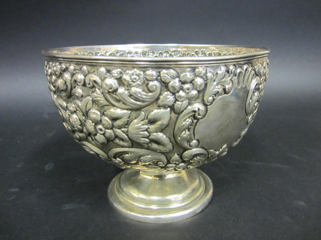 An Edwardian silver rose bowl Chester 1903