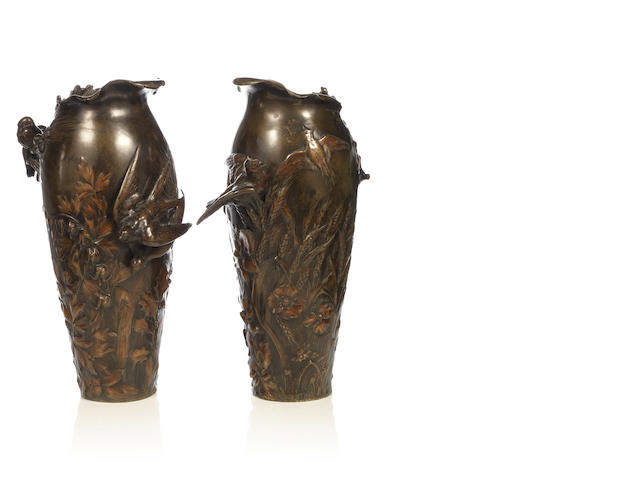 Frédéric Debon A Pair of Patinated Bronze Vases, circa 1890