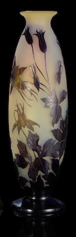 Emile Gallé 'Aquilegia' a Vase, circa 1910
