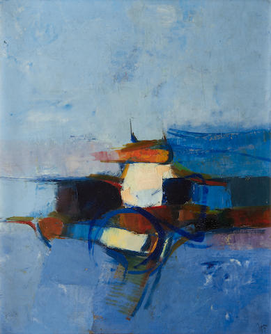Donald Hamilton Fraser RA (British, 1929-2009) Vertical landscape study blue and orange, 1955