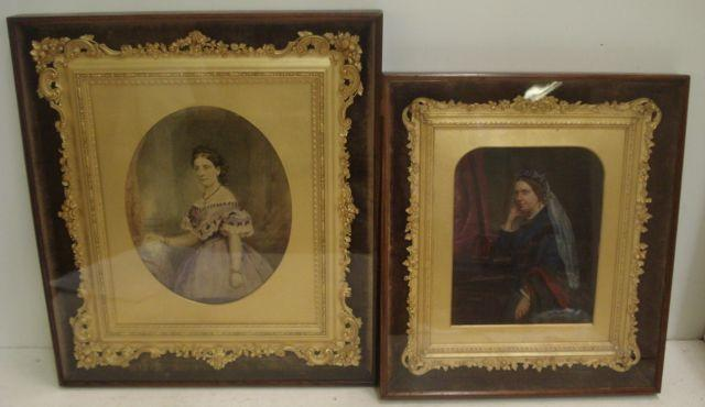 Two Victorian three quarter length portrait studies of ladies, in room interiors, each painted over a photographic base, each in an ornate foliate moulded gilt frame, in plush lined glazed rosewood frames, image 24 x 19cm, oval and 21 x 17cm.