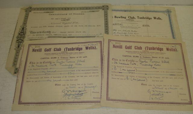 Four share certificates, relating to Neville Golf Club and The Grove Bowling Club Tunbridge Wells & The Kent & Sussex Club.