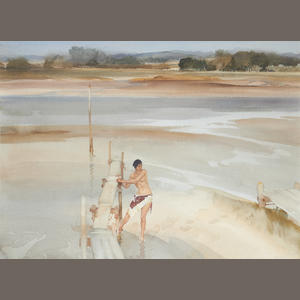Sir William Russell Flint R.A., P.R.W.S. (British, 1880-1969) Melinda on the jetty