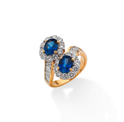 A sapphire and diamond crossover ring
