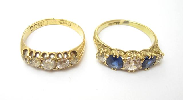 A diamond five-stone ring and a sapphire and diamond ring