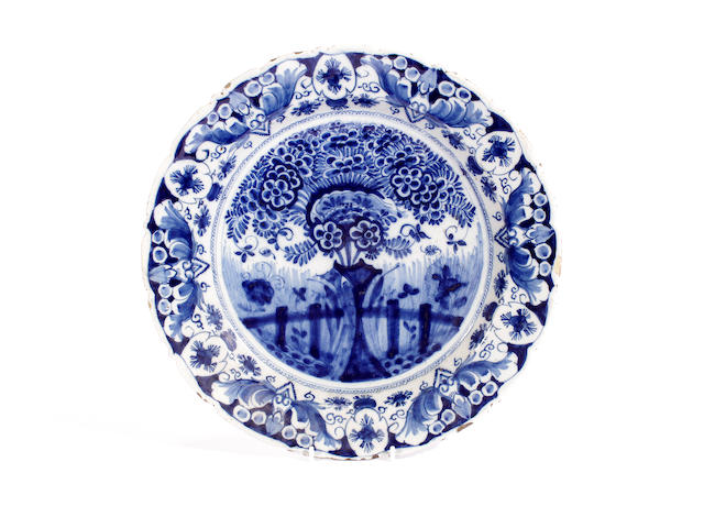 A Dutch Delft large dish, 18th century
