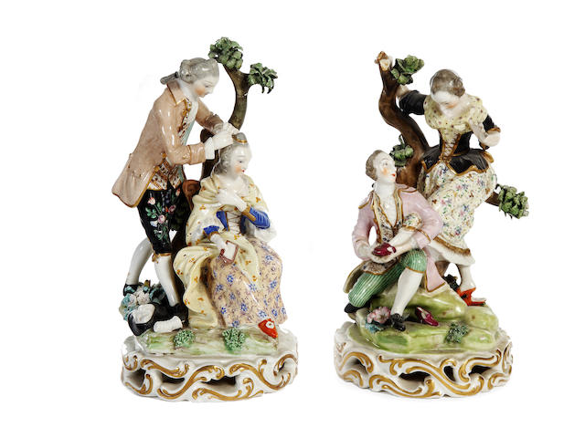 A pair of Derby figure groups, late 18th century