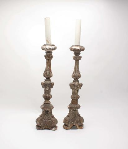 A pair of 17th century style giltwood & gesso candlesticks,