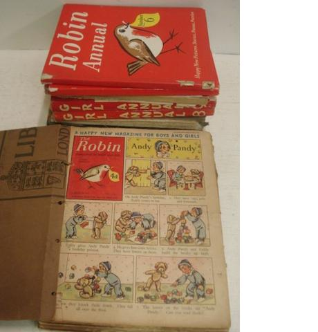 The Robin - A Happy New Magazine for Boys and Girls, volume 1 No. 1 28 March 1953 - volume 3 No. 53 31 December - 1955, bound in years with card covers and seven Robin, Eagle and Girl annuals.(10)
