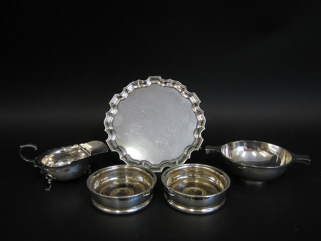 An Edwardian silver waiter Sheffield 1909,  (5)