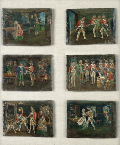 English Naïve School, 18th century A soldier's progress