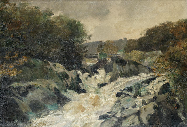 Charles James Fox (British, 1860 - ?) A bridge over the rapids