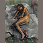 British School, 20th Century Study of a resting nude