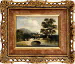 Attributed to John J. Kirby (1716-1774) Landscape with cattle crossing a bridge; and companion