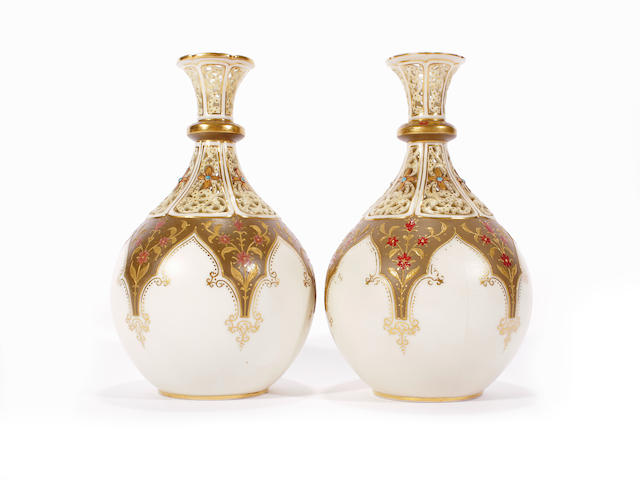 A pair of Grainger & Co reticulated vases, dated 1892