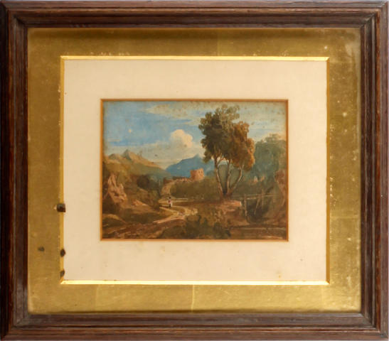 Attributed to John Varley, OWS (British, 1778-1842) Landscape with figure on a track