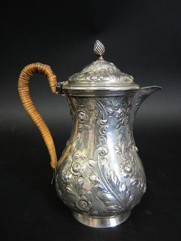A George II silver hot water pot London 1749